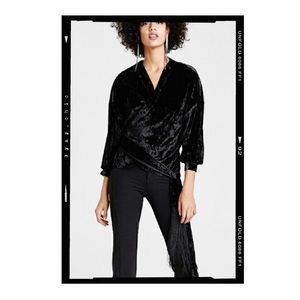 Zara Wrap Around Velvet Fringe Blouse
